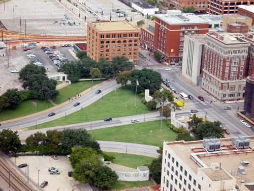 The most haunted place in all of Dallas: Dealey Plaza on a deceptively sunny day. Anyone who thinks that tragedy, historical or otherwise does not warp the energy of a place ought to visit Dealey Plaza ... or to talk to an empath.