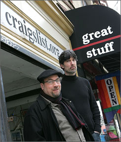 Craigslist Honchos: Craig Newmark and Jim Buckmaster outside their humble headquarters - What effective strategy do they have to deal with virulent spam?