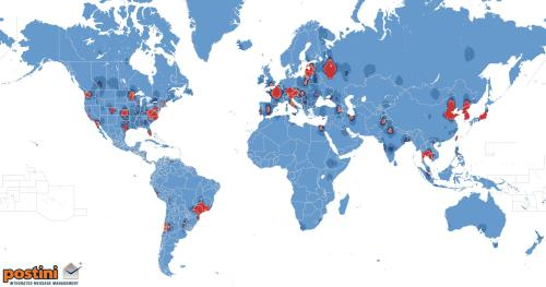 World spam activity map. Source: Postini Inc.
