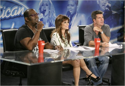 American Idol and death or dearth of talent or even more appropos, where talent comes to die. From left: Jackson, Abdul and Cowell.