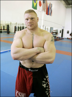 The Brock: Ready, willing and able to defend his new-fangled heavyweight belt. Anyone betting against this guy has either too much disposable income or just doesn't know any better.